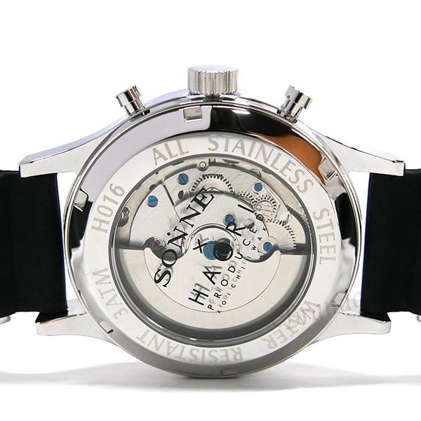 ゾンネ ハオリ SONNE×HAORI メンズ 腕時計 岩城滉一 コラボ 44mm 自動巻き ブラック×シルバー H016SS BK [在庫品]|brandol|05