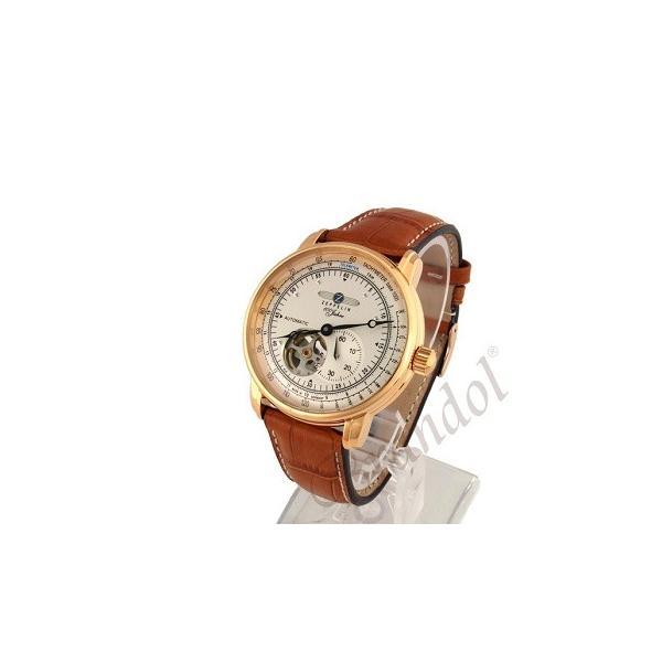 ツェッペリン ZEPPELIN メンズ腕時計 100周年記念モデル オートマチック 40mm 自動巻き シルバー×ライトブラウン 7662-5|brandol|02