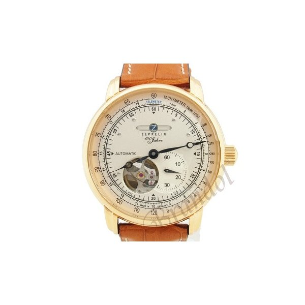 ツェッペリン ZEPPELIN メンズ腕時計 100周年記念モデル オートマチック 40mm 自動巻き シルバー×ライトブラウン 7662-5|brandol|03