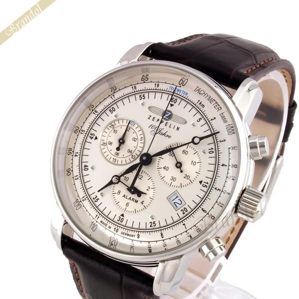 ツェッペリン ZEPPELIN メンズ腕時計 100周年記念モデル クロノグラフ 42mm シルバー×ブラウン 7680-1N brandol