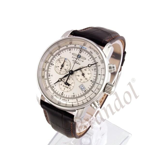 ツェッペリン ZEPPELIN メンズ腕時計 100周年記念モデル クロノグラフ 42mm シルバー×ブラウン 7680-1N brandol 02