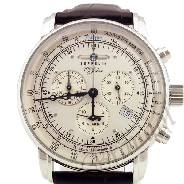 ツェッペリン ZEPPELIN メンズ腕時計 100周年記念モデル クロノグラフ 42mm シルバー×ブラウン 7680-1N brandol 03