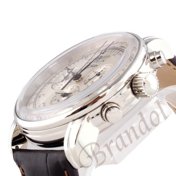 ツェッペリン ZEPPELIN メンズ腕時計 100周年記念モデル クロノグラフ 42mm シルバー×ブラウン 7680-1N brandol 04