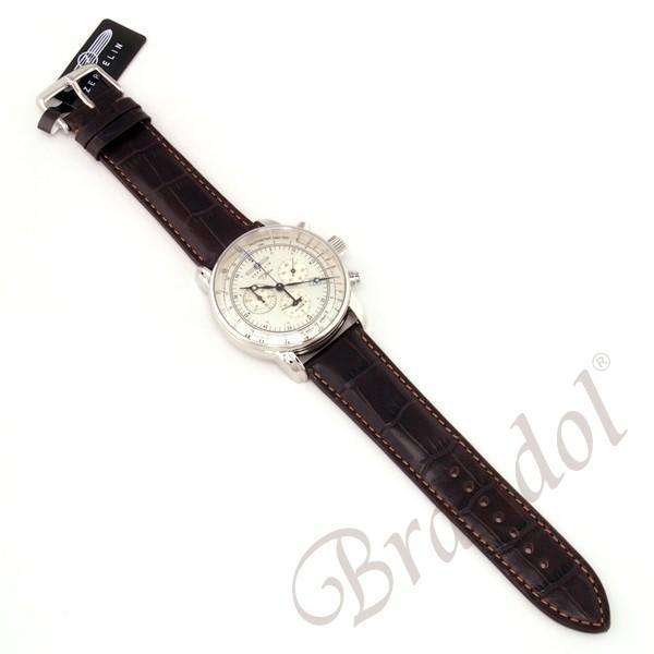 ツェッペリン ZEPPELIN メンズ腕時計 100周年記念モデル クロノグラフ 42mm シルバー×ブラウン 7680-1N brandol 05