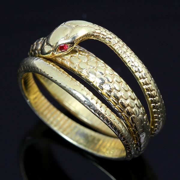 美品『USED』K18 スネーク 蛇 デザイン 指輪 リング 8.1g 9.5号