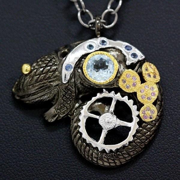 【新品】シルバー925 ブルーストーン ピンクストーン 爬虫類 ネックレス チェーン/47.5cm シルバーアクセサリー メンズ