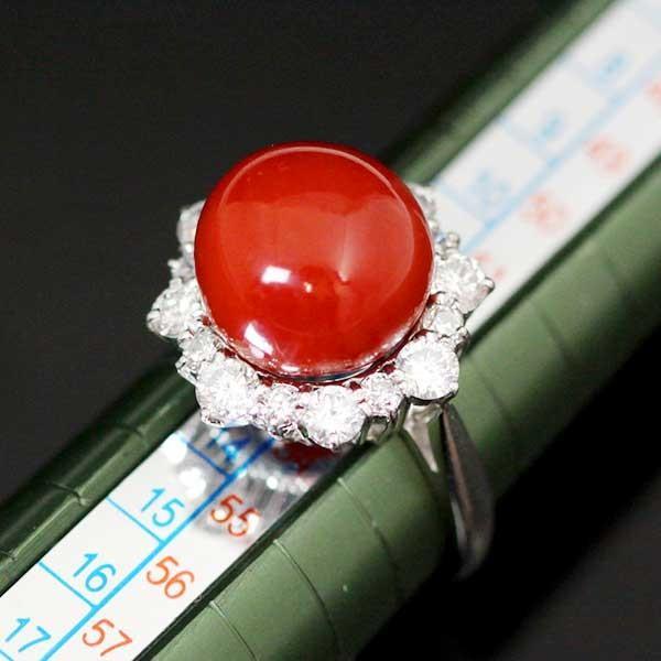 【USED】Pt900 赤珊瑚/約11.4mm ダイヤ/1.11ct サンゴデザインリング 12.5号/#12.5 8.6g コーラル 指輪
