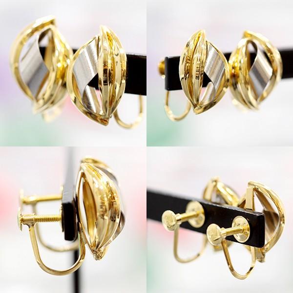 【USED】K18/Pt900 ツーカラーデザインイヤリング イエローゴールド プラチナ アクセサリー 耳飾り 2.2g ねじ式