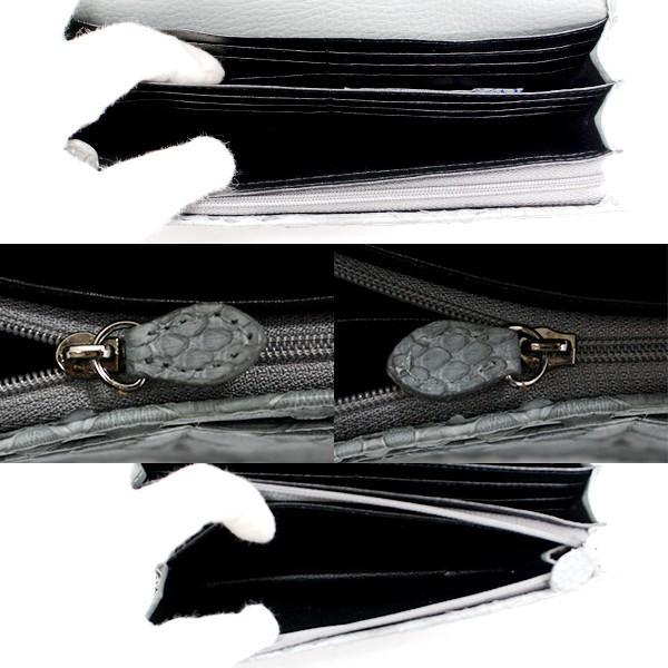 セール【未使用展示品】パイソン グレー 長財布 小銭入れ付 箱付 レディース 本革 ヘビ革