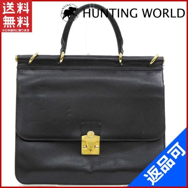 ハンティングワールド HUNTING WORLD バッグ ビジネスバッグ ゴールド金具 ロゴ 中古 X10782