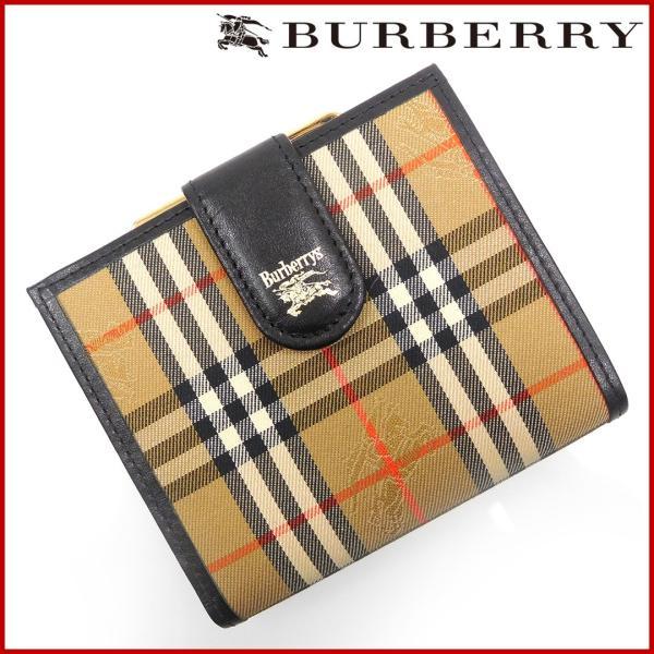 4ae4ab4c5b バーバリー 財布 レディース (メンズ可) BURBERRY 二つ折り財布 がま口財布 ノバチェック 中古 ...