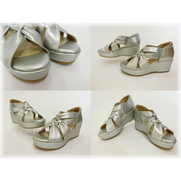 Miss Kyouko・ミスキョウコ レザー 美脚サンダル シルバー レディース靴 23.5cm 未使用品 18-60400