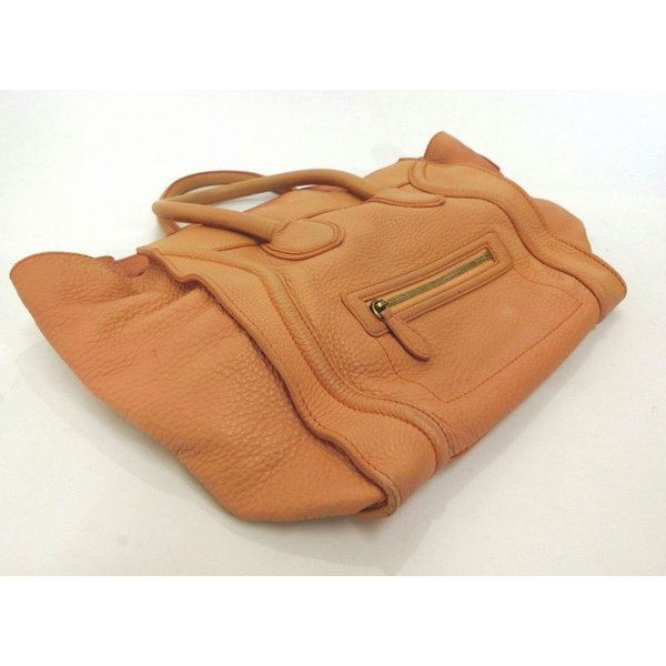 CELINE・セリーヌ ラゲージ ミニショッパー レザートートバッグ ハンドバッグ A4収納 レディース イタリア製 ブランド 特価品 中古 18-9003