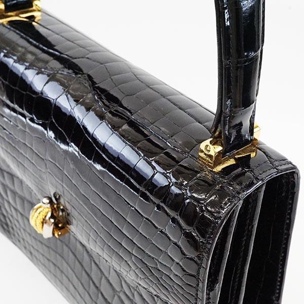 クロコダイル ハンドバッグ 黒 本物  オシャレ ブラック×ゴールド90051 KOJIYA