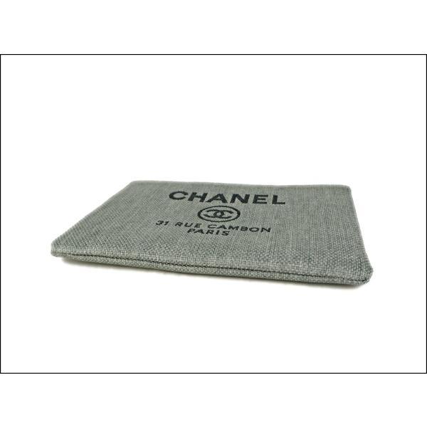 シャネル CHANEL ドーヴィル クラッチバッグ グレー A80117 レディース ポーチ 薄型 大きめ
