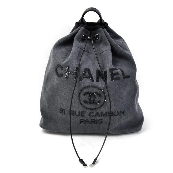 new products 558b3 d205f シャネル CHANEL リュックサック バックパック 巾着リュック ドーヴィルライン キャンバスxスパンコール グレー系 美品