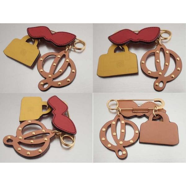 ロエベ LOEWE ブローチ 金属素材xレザー ゴールドxマルチカラー 美品