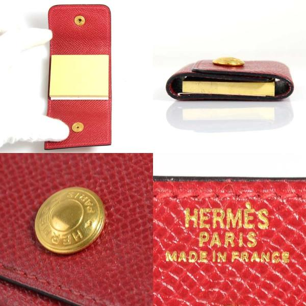 エルメス HERMES 付箋カバー レザーxゴールド金具 レッド 定番人気|brandvalue-store|02