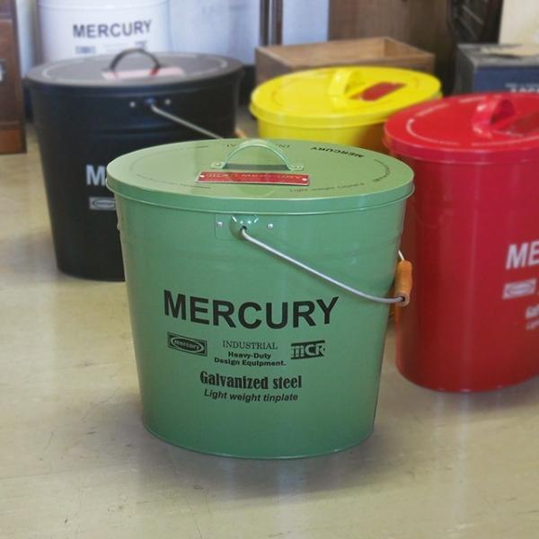 おしゃれ 男前 蓋付き 横長 オーバル ブリキバケツ カーキ MERCURY マーキュリー