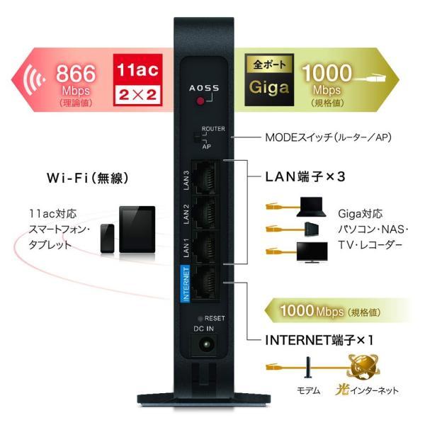 BUFFALO WiFi 無線LAN ルーター WHR-1166DHP4 11ac ac1200 866+300Mbps デュアルバンド 3|breezeisnice|07