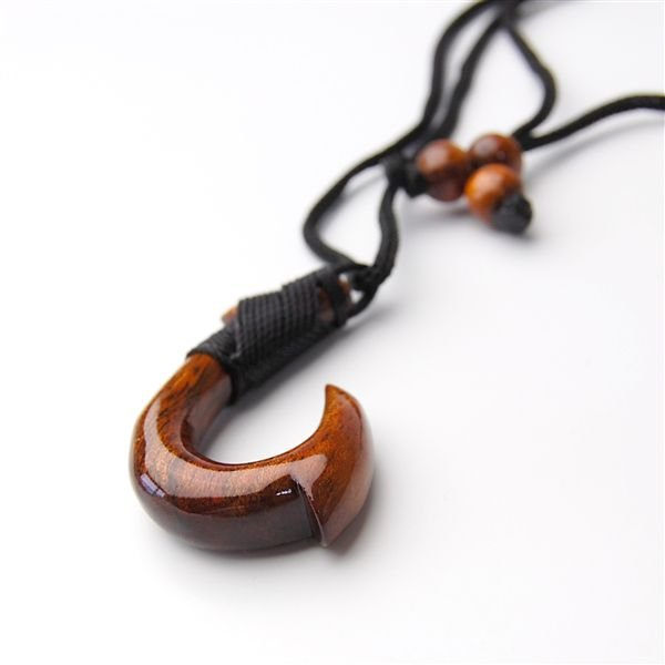 ハワイアンジュエリー ネックレス コアウッド ペンダント フィッシュフック サイズL 幸運を吊り上げます 釣り針 琥珀色に輝く貴重なハワイコアの木|breezyisland|02