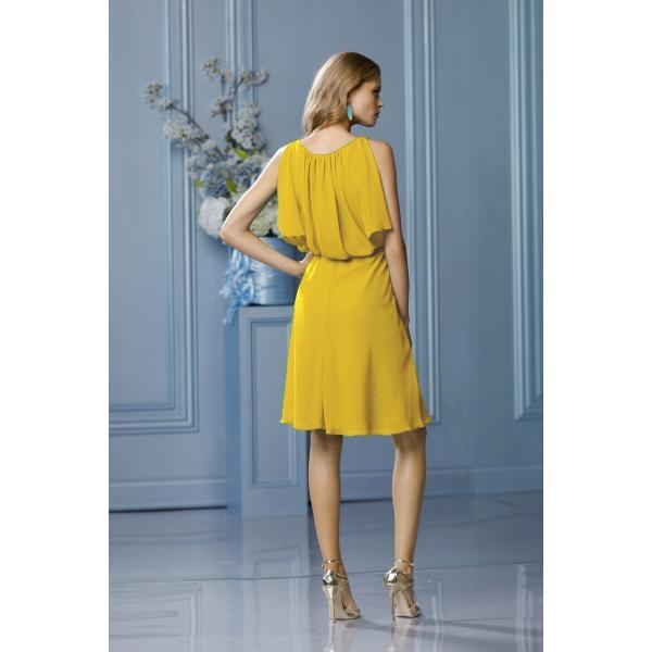d2c57e128cef0 ... 黄色の可愛いショートドレス ブライズメイドドレス 結婚式 ゲストドレス パーティードレス アウトレット セール