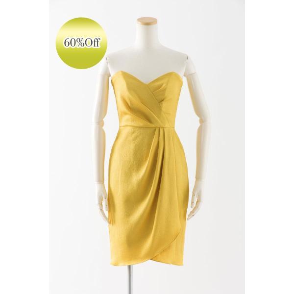 f0048aaf34eaa ユニーク生地のタイトなドレス ベアトップ ブライズメイドドレス 結婚式 格安 黄色 パーティー ...