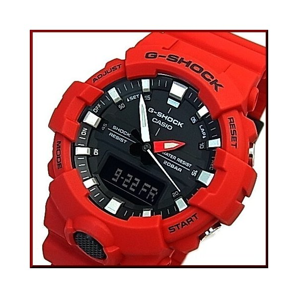 訳あり外箱凹み有 CASIOG-SHOCKカシオGショックアナデジモデルメンズ腕時計レッド海外モデルGA-800-4A
