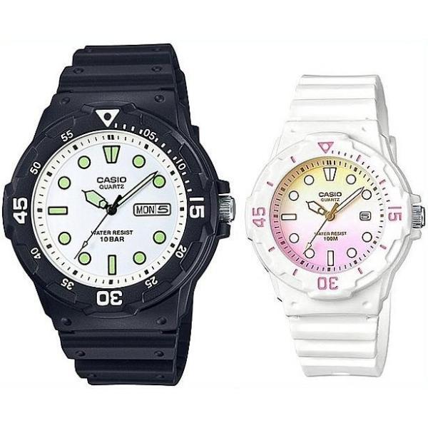 CASIO Standard カシオ スタンダード アナログクォーツ ペアウォッチ 腕時計 ラバーベルト ブラック/ホワイト 海外モデル MRW-200H-7E/LRW-200H-4E2