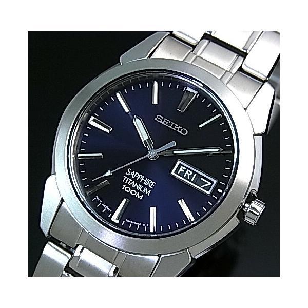 competitive price 441d2 f6234 SEIKO Quartz セイコー クォーツ 軽量チタンモデル メンズ腕時計 メタルベルト ネイビー文字盤 SGG729P1 海外モデル