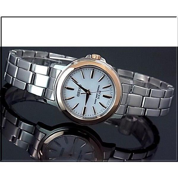 SEIKO SPIRIT セイコー スピリットソーラー電波腕時計 レディース ピンクゴールドベゼル ホワイト文字盤 メタルベルト 国内正規品 SSDT048