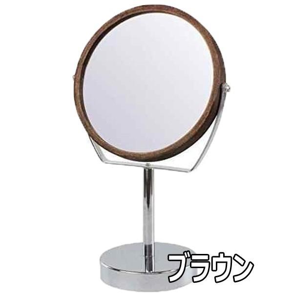 ヤマムラ YWM-2 5倍拡大鏡付き 両面卓上ミラー ブラウン 木製フレーム メイク、スキンケアにおすすめ|bright08|02