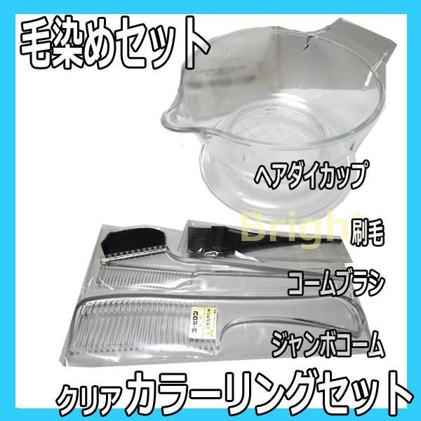 カラーリングセット クリア 毛染めセット(ヘアダイカップ・ヘアダイコーム・ジャンボコーム・ハケ) 三信 bright08