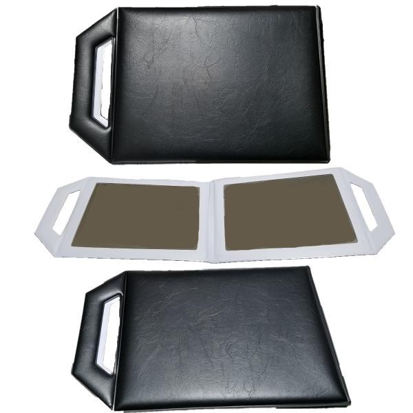 レザーバックミラー 2面式鏡 ヘアサロン必需品 散髪カット・セット後のチェックに bright08 02