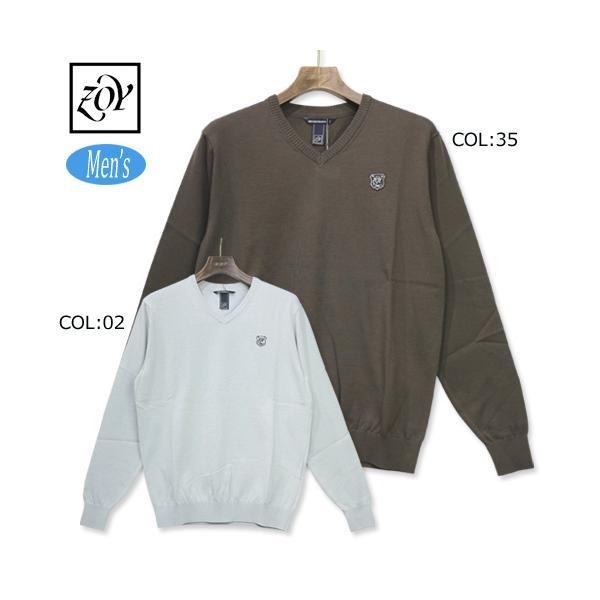 ゾーイZOY071729702メンズ長袖薄手セーターVネックニットゴルフウェアスポーツウェア