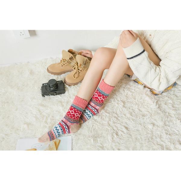 セール(レディース 靴下)3足組(暖かい)ジャカード柄ソックス 靴下 ロークルーソックス かわいい 冷えとりソックス 靴下 おしゃれ brightcosplay 06