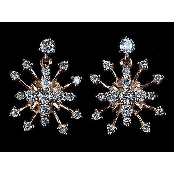 ダイヤモンド ピアス K18PG ピンクゴールド 天然ダイヤモンド18石×2計0.13ct×2 スノーフレーク(雪の結晶)型ピアス 送料無料