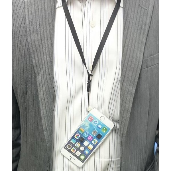 iPhone6/6s用 ラバーコーティングケース  ネックストラップ付 (4.7)ブラック|brightonnetshop|03