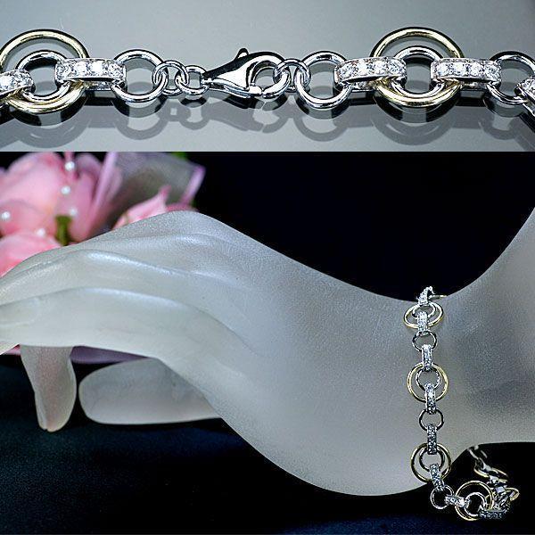 ダイヤモンド ブレスレット K18WG YG 天然ダイヤモンド64石計1.00ct ブレスレット アウトレット 送料無料