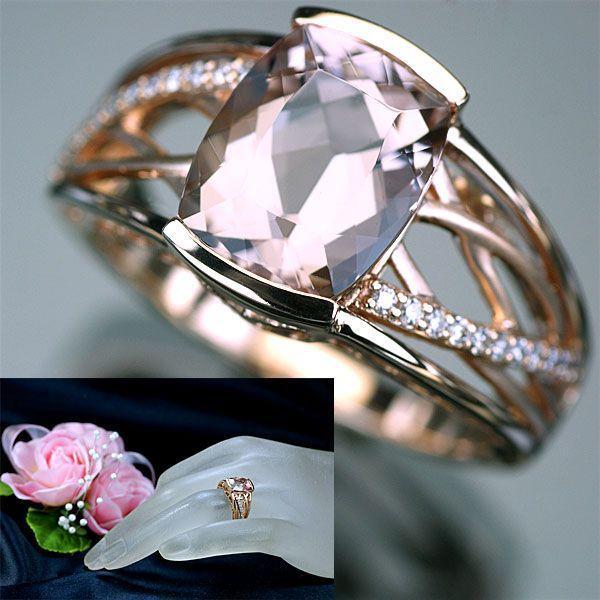 モルガナイト ダイヤモンド リング 指輪 K18PG ピンクゴールド 天然モルガナイト2.5ctUP 天然ダイヤ0.11ct リング/送料無料