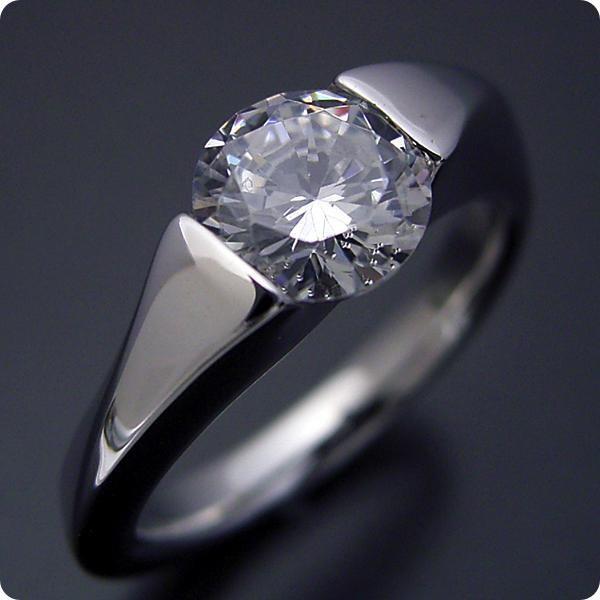 婚約指輪1カラット1ctダイヤモンドエンゲージリングプラチナブライダルジュエリー結婚指輪マリッジリング受注生産品1カラット版:もの凄くスタイリッシ