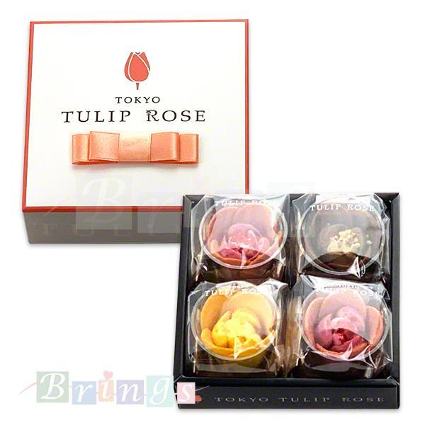 チューリップローズショコラローズとチューリップラングドシャ4個入TOKYOTULIPROSE専用おみやげ袋(ショッパー)付き冷蔵