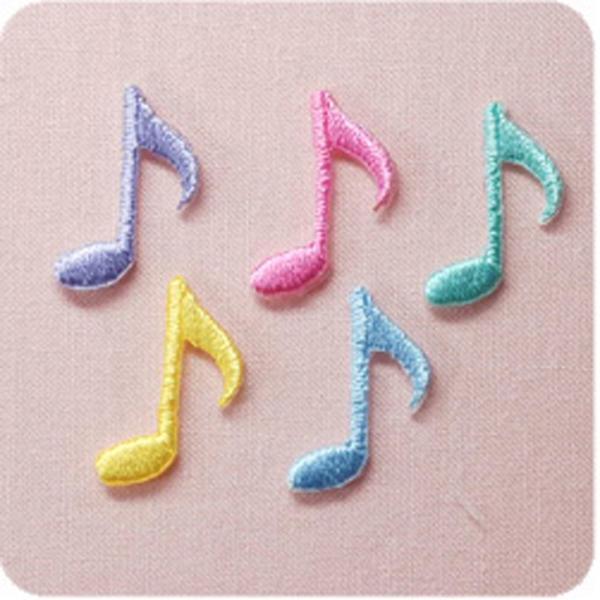 ワッペン 8分音符 3枚セット アイロン 刺繍 マーク シンプル プレゼント 服 ワンポイント ハンドメイド 目印