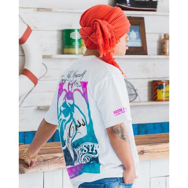 NESTA BRAND ネスタブランド×HAN-KUN コラボ 半袖Tシャツ 202NB1002 ドライ キャンディー ライオン グラデーション 半袖Tシャツ ホワイト