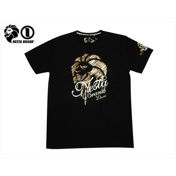 NESTA BRAND ネスタブランド 半袖Tシャツ 202NB1003 20th ドリップライオン ドライ 半袖Tシャツ ブラック