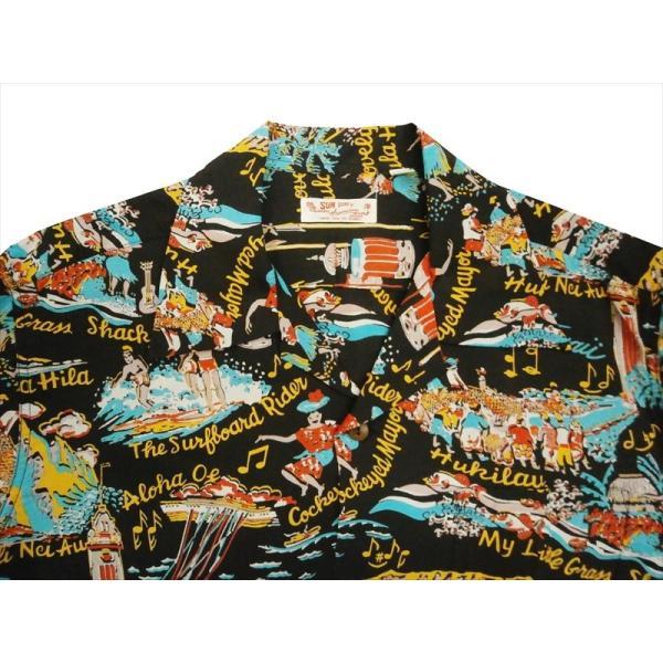 SUN SURF サンサーフ アロハシャツ SS37787 『THE SONG OF HAWAII』 レーヨン・半袖ハワイアンシャツ ブラック|bros-clothing|02