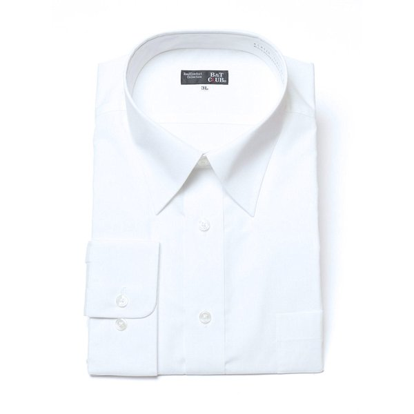 ワイシャツ 長袖 大きいサイズ メンズ レギュラーカラー 形態安定 白無地 3L-8L B&T CLUB|btclub|04