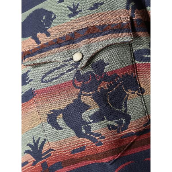 長袖シャツ 大きいサイズ メンズ アニマル総柄×ボーダー ジャガード カジュアル トップス シャツ POLO RALPH LAUREN btclub 05