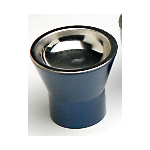 仏具 単品販売 詩杯(しはい)型仏器(仏飯器)茄子紺色入ステンレス落し付 モダン仏具・具足・単品