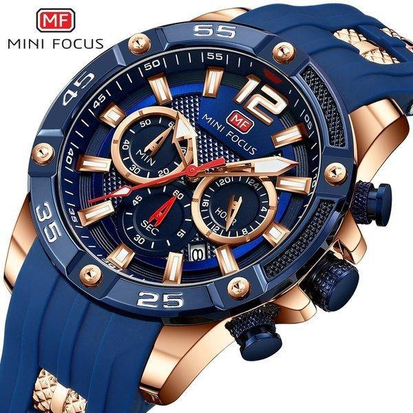 メンズ腕時計クォーツクロノグラフスポーツミリタリーMINIFOCUS